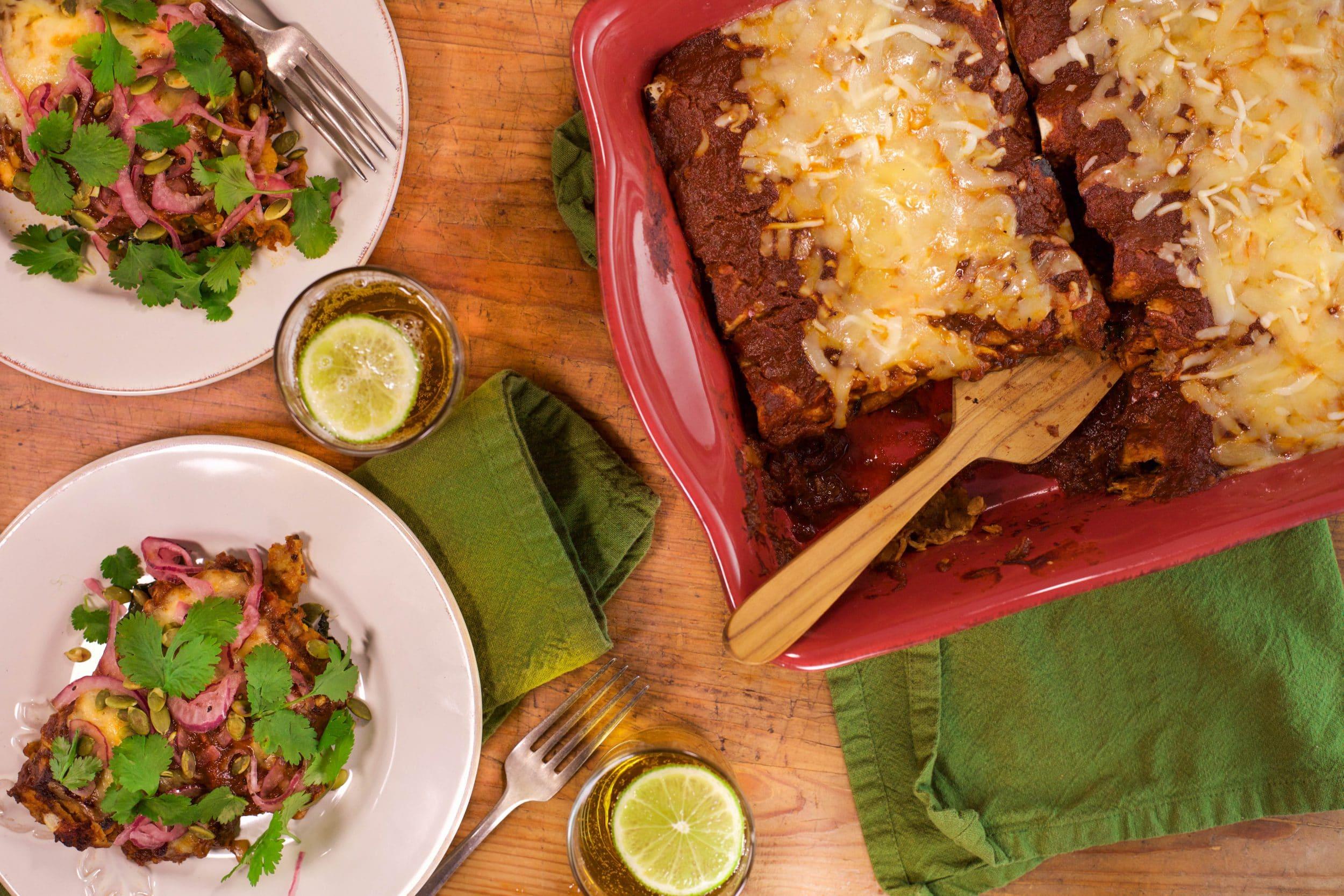 Butternut and Black Bean Enchiladas