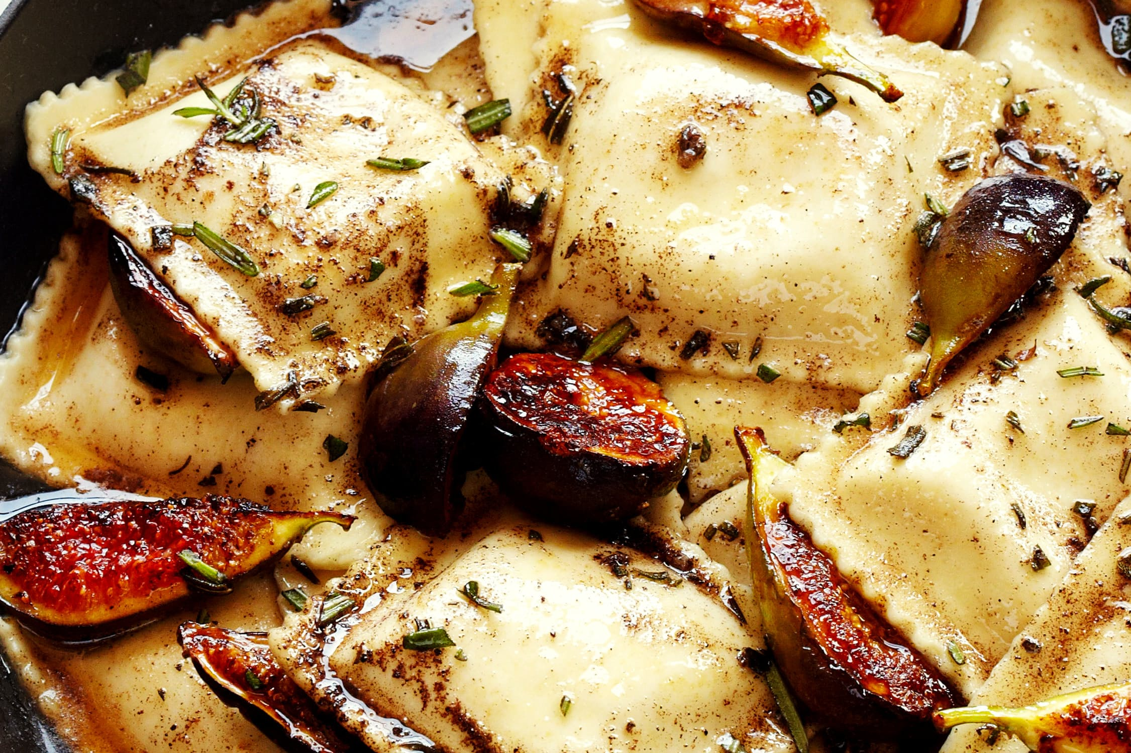 Caramelized Figs and Ravioli with Rosemary Brown Butter & Crispy Prosciutto