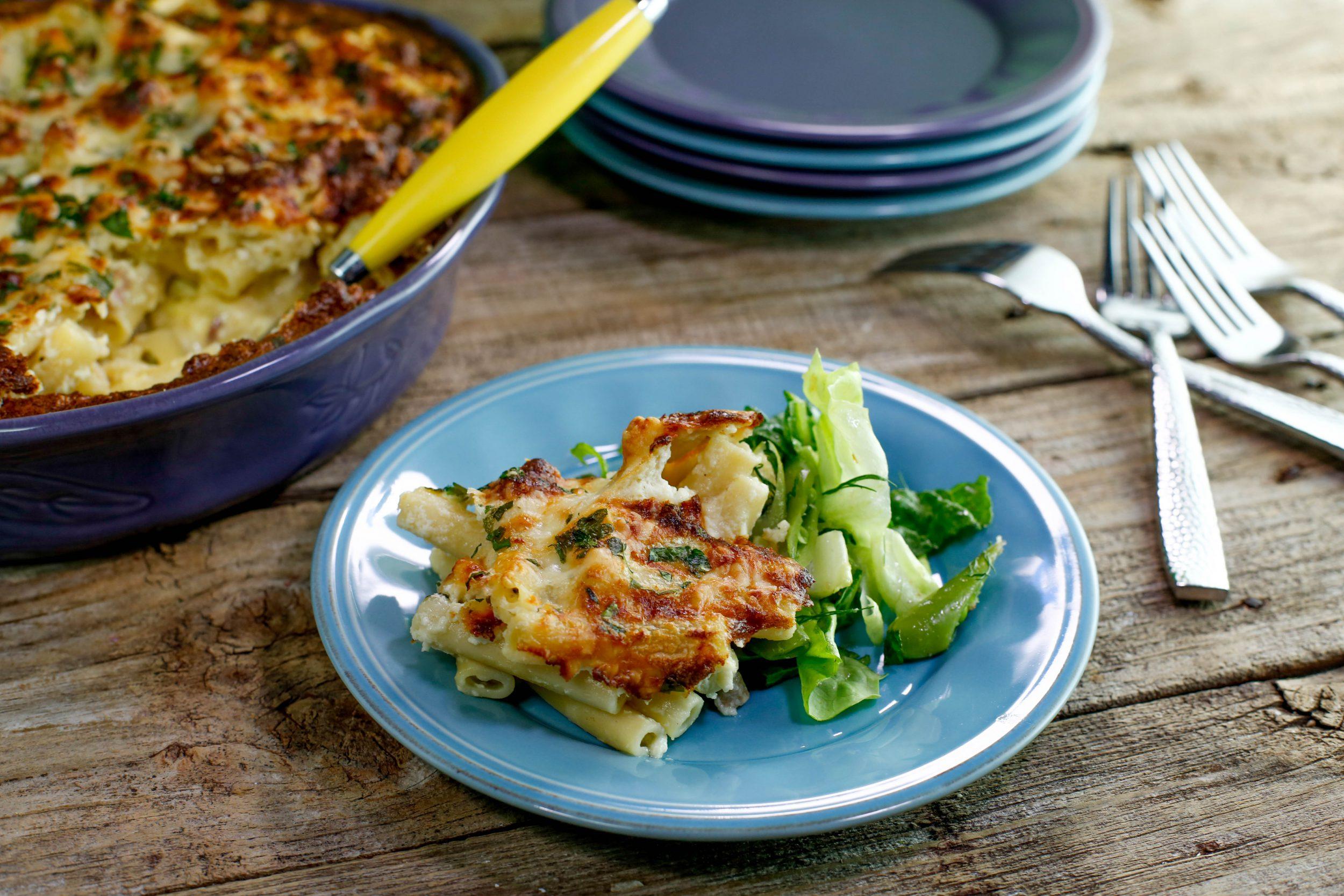Carbonara Mac 'n Cheese Soufflé and Spring Salad