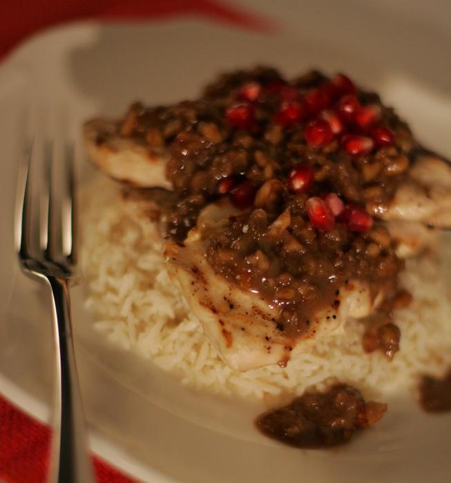 Cayenne Cafe chicken with pomegranate-walnut sauce