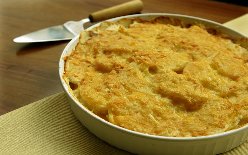 Celeriac and potato gratin