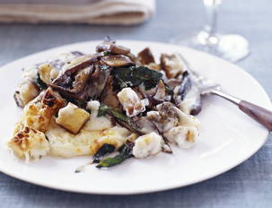 Cheesy Triple-Mushroom and Bread Gnocchi Bake
