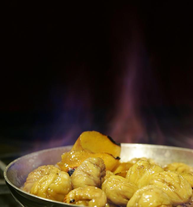 Chestnuts flambe