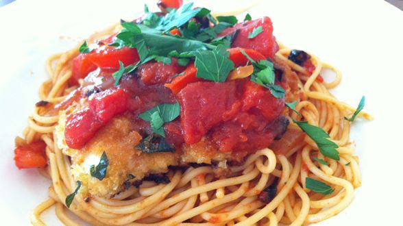 Chicken Cutlets & Spaghetti with Peppers and Onions