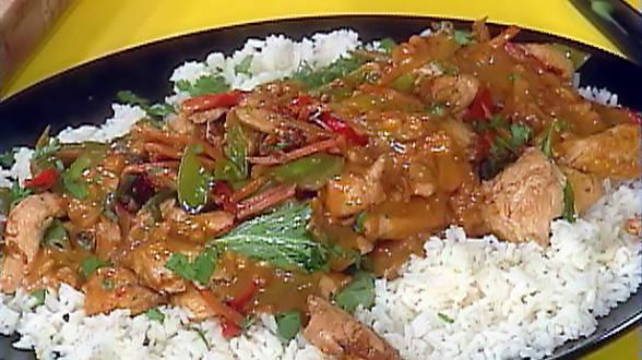 Chicken Satay Stir Fry with Orange-Scented Jasmine Rice