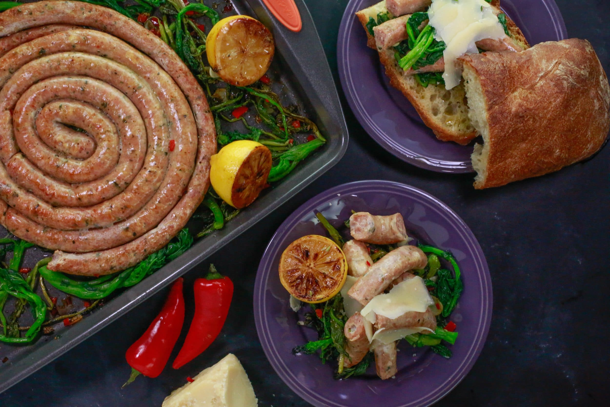 Chicken Sausage with Roasted Rapini