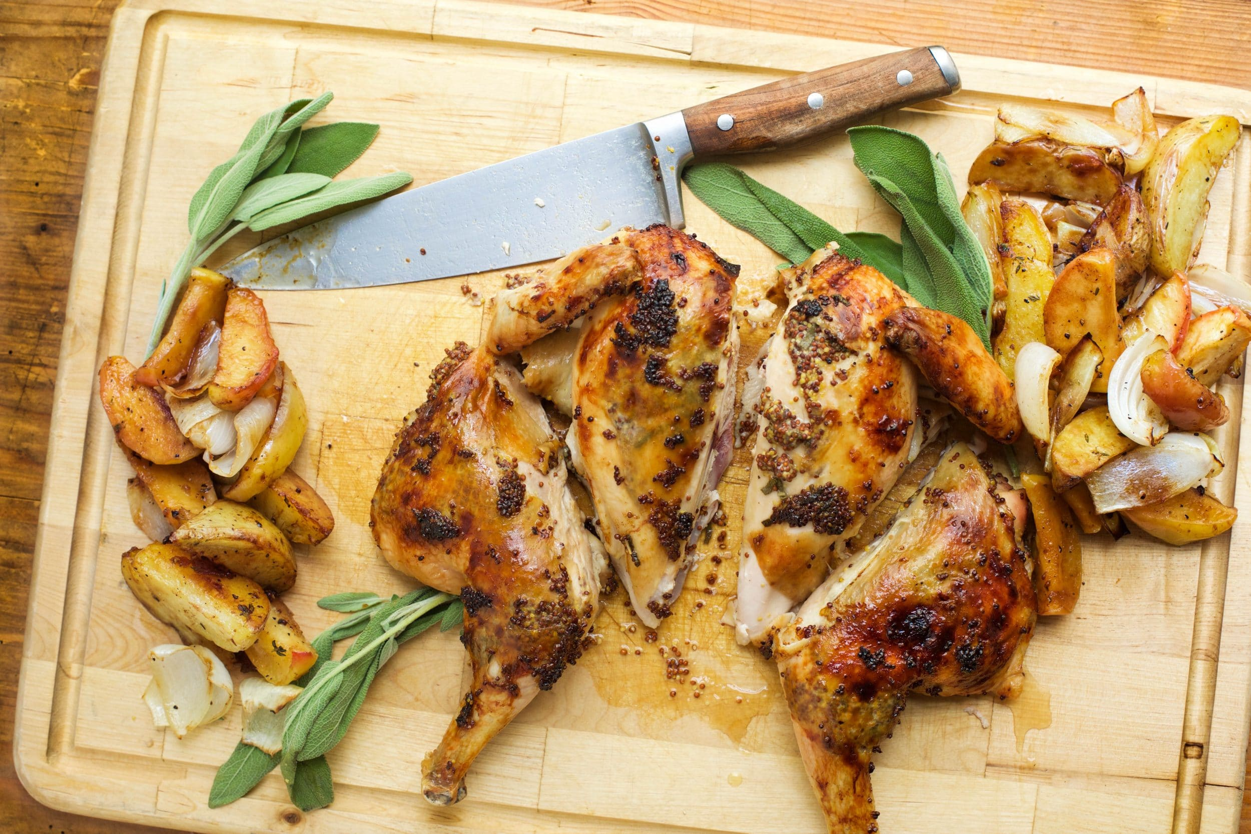 Chicken with Maple and Mustard, Apples, Potatoes and Onions