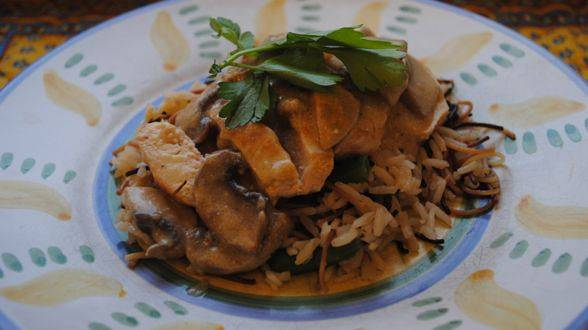 Chicken with Tarragon Cream and Green Bean Rice Pilaf