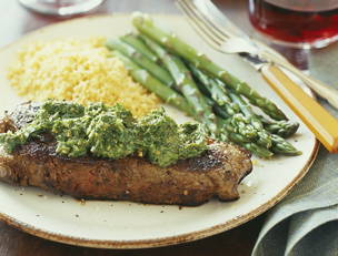Chimichurri Steak, Chicken or Pork Chops with Asparagus and Tomato