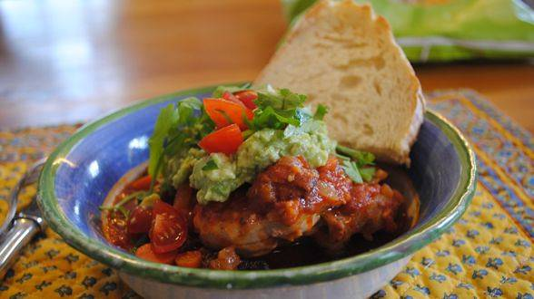 Chipotle Chicken Thighs with Chunky Guacamole