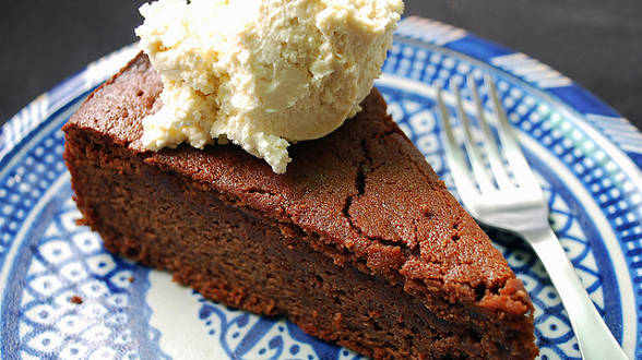 Chocolate Cardamom Cake with Coffee Whipped Cream