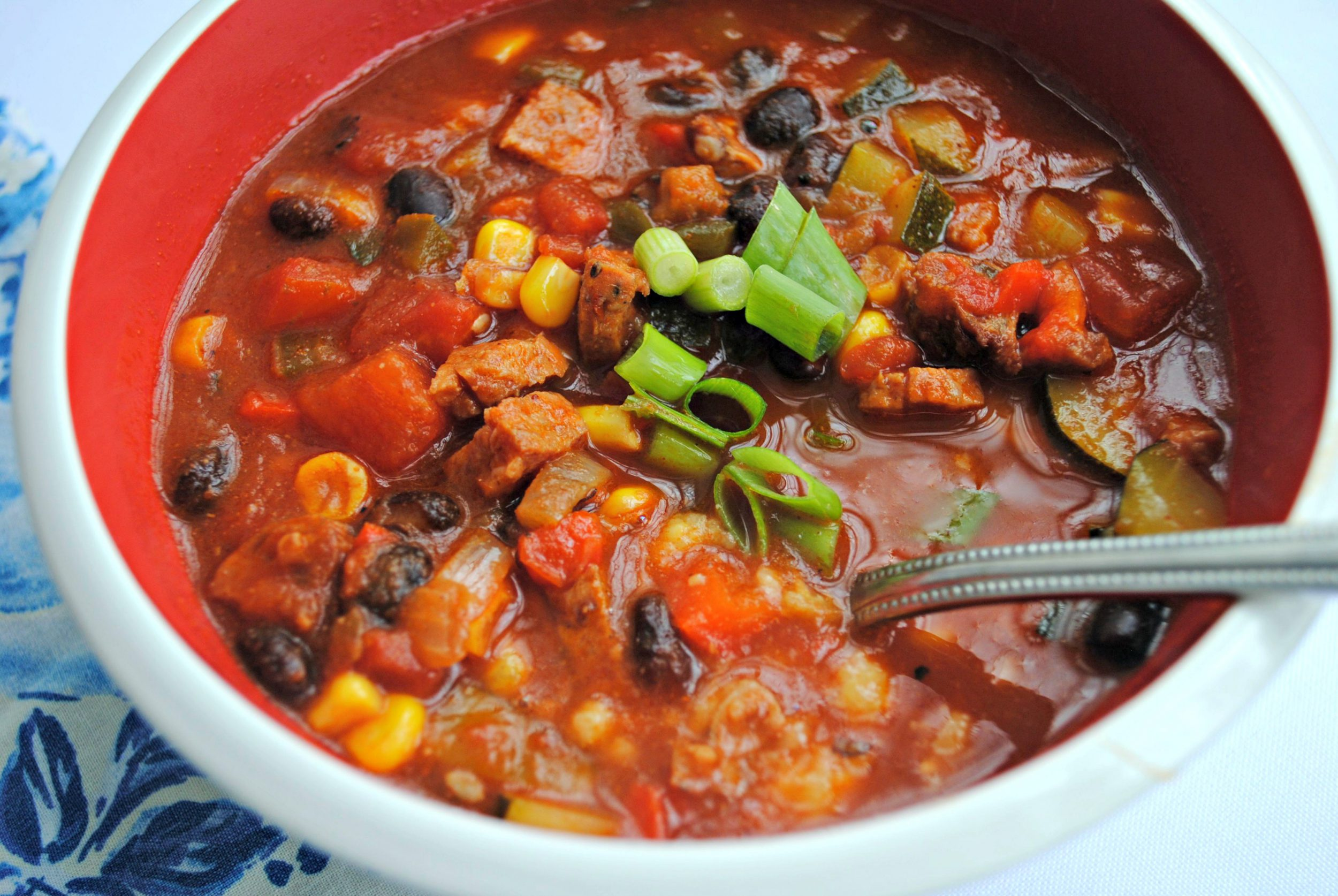 Chorizo and Vegetable Chili in Cheesy Polenta Bowls