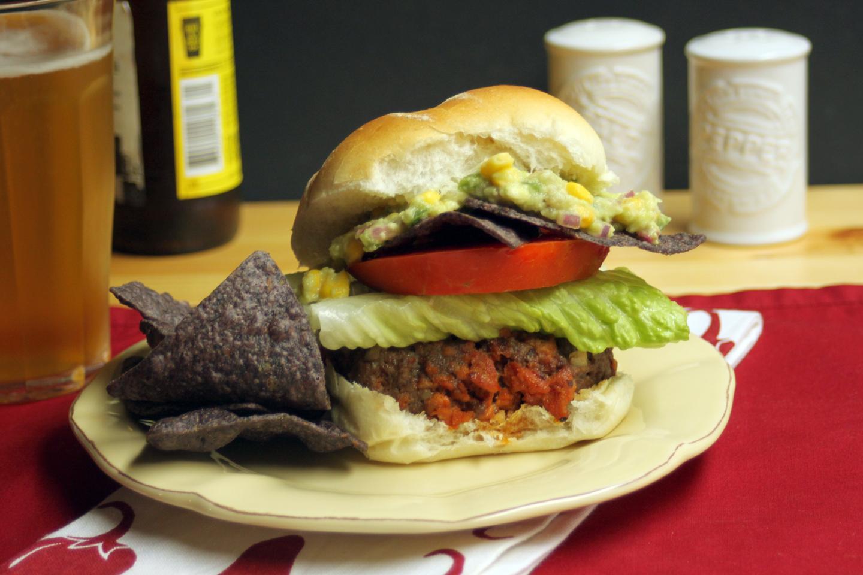 Chorizo Burgers with Sweet Corn Guacamole