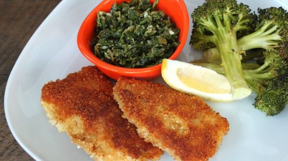 Crispy Fish Sticks with Parm Cheese and Parsley Caper Sauce