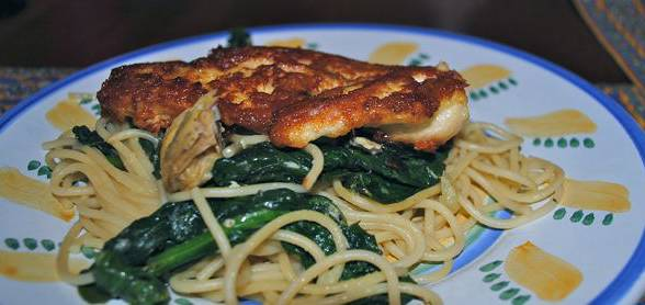 Crispy Parmigiano-Crusted Chicken on Summer Lemon Pasta