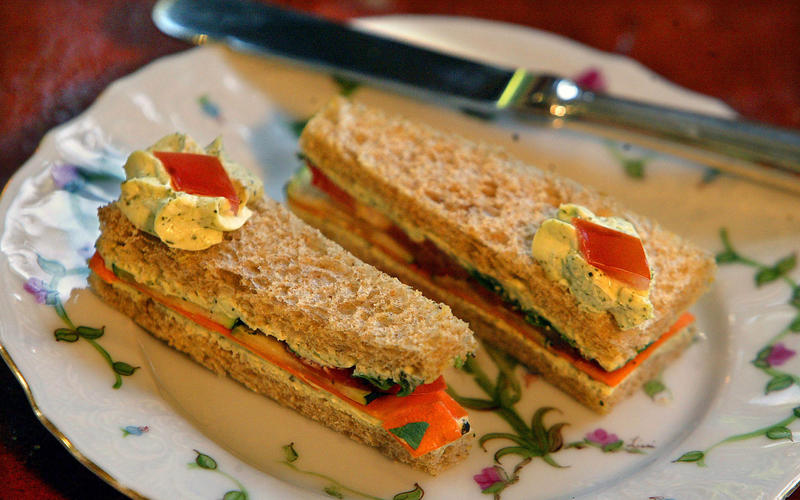 Cucumber and tomato tea sandwiches