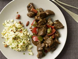 Curry Pepper Beef with Smoked Almond Pilaf