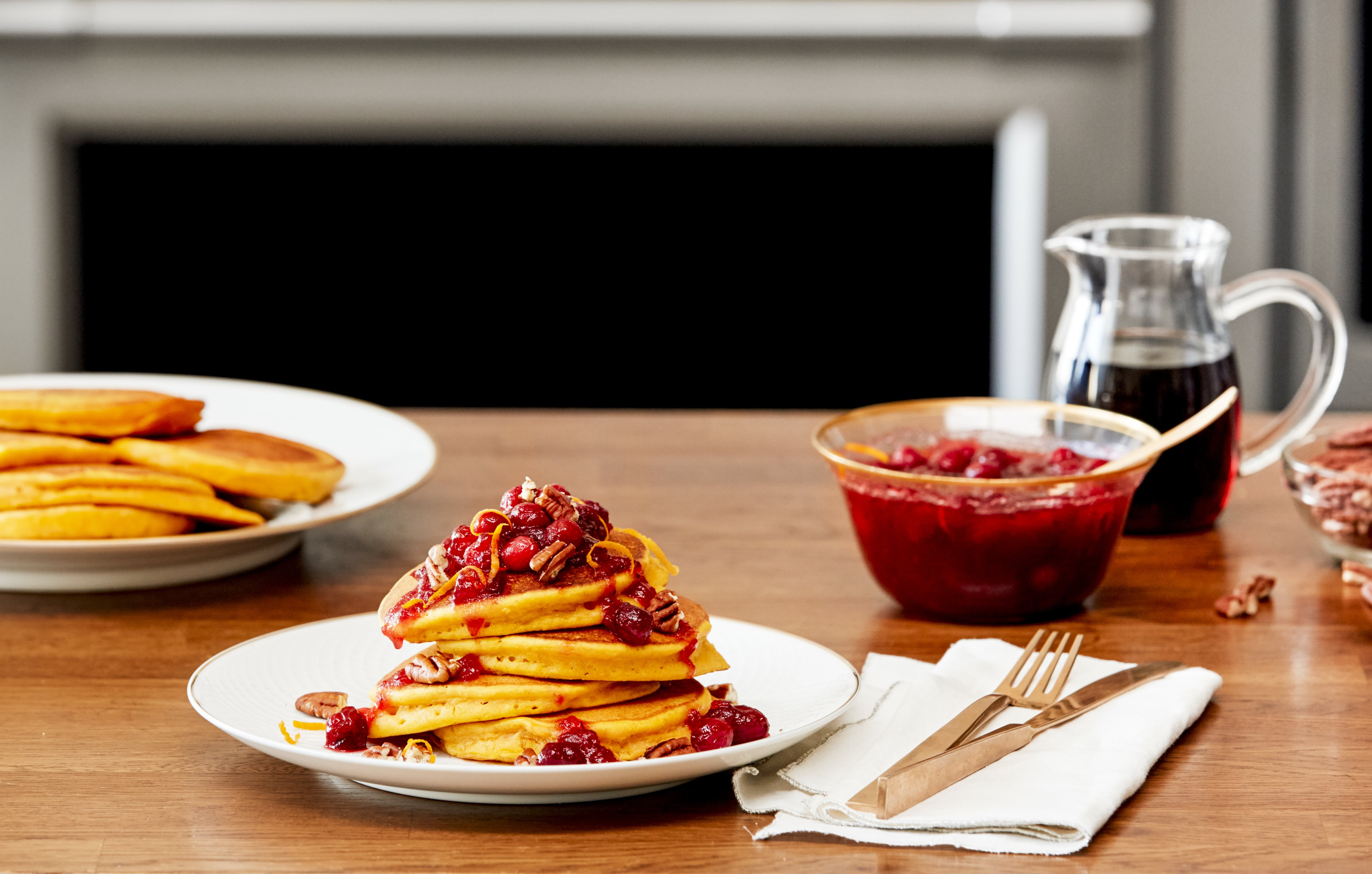 Day-After-Thanksgiving Pumpkin Pancakes with Cranberry Topping