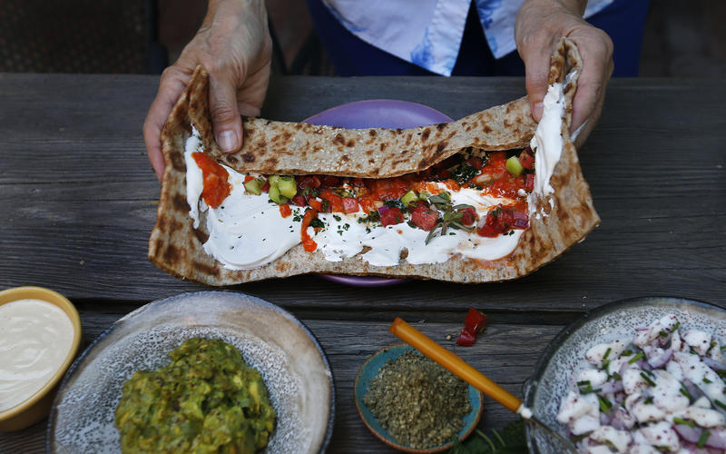 Druze wrap with labne and za'atar