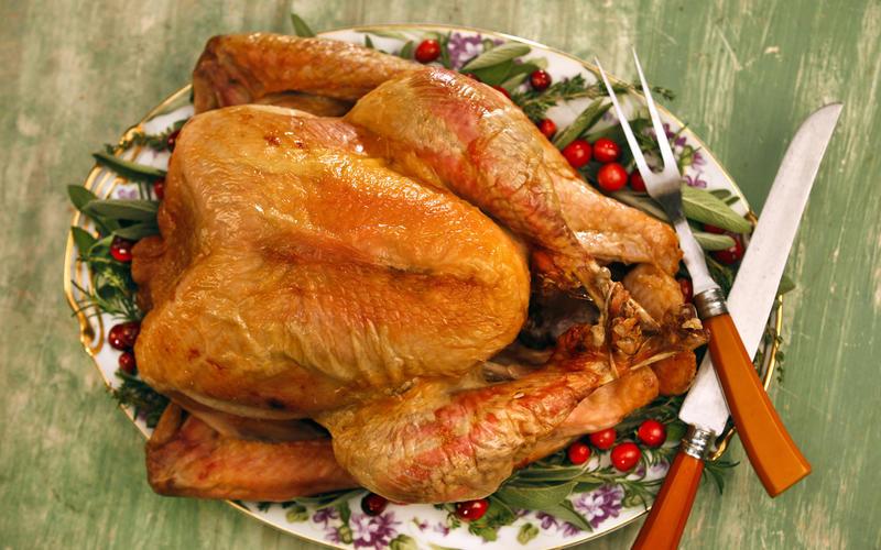 Dry-brined turkey with three seasoned salts