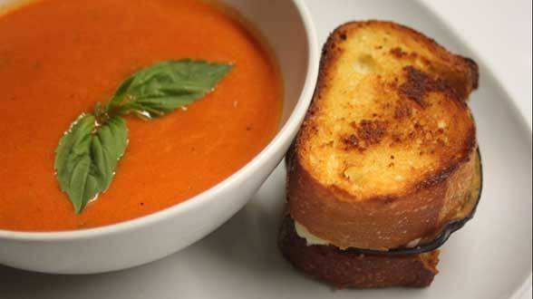 Eggplant Parm Grilled Cheese and Tomato Soup