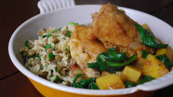 Eight-Spice Squash and Chicken Thighs Stew with Lentil Rice