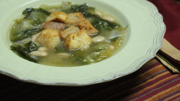 Escarole Soup with Caesar Croutons
