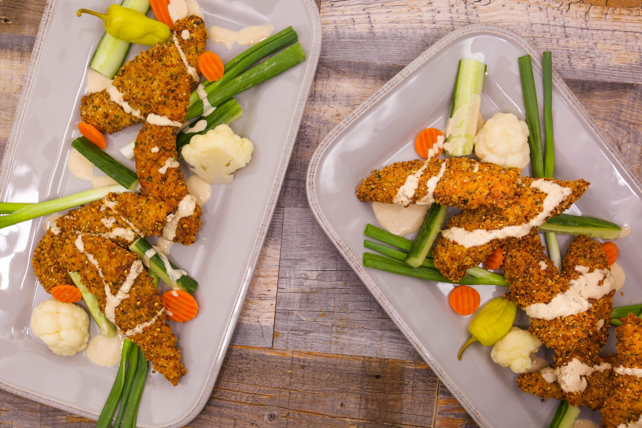 Everything Chicken Fingers with Tahini Dipper