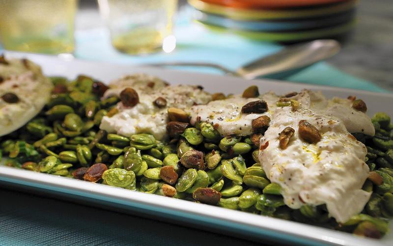 Fava bean salad with mint, burrata and pistachios