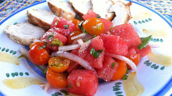 Feta-Stuffed Chicken with Tomato-Watermelon Salad