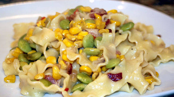 Flat Pasta with Creamy Corn