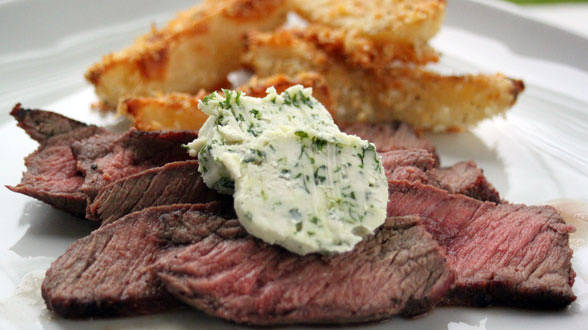 Flatiron Steaks with Blue Cheese Butter