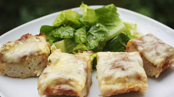 French Onion Soup-Topped French Bread Pizza and Salad with Dijon Vinaigrette