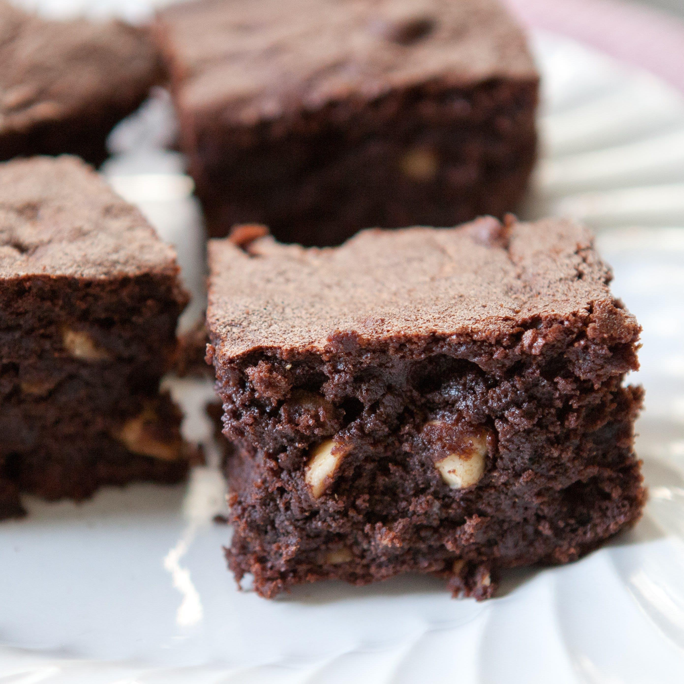 Fudgy Hazelnut Rye Brownies