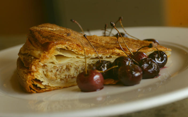 Gateau basque with roasted cherries