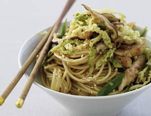 Ginger-Garlic Chicken Stir Fry with Soy-Sesame Noodles
