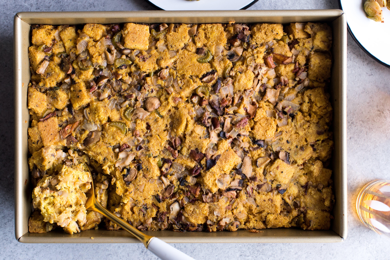 Gluten-Free Cornbread and Mushroom Stuffing