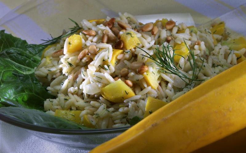 Golden zucchini and orzo