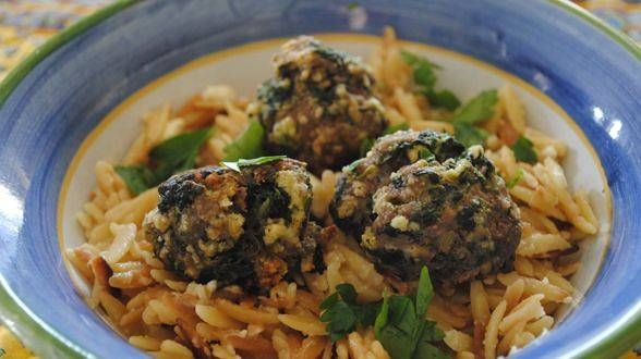 Greek Meatballs and Toasted Orzo