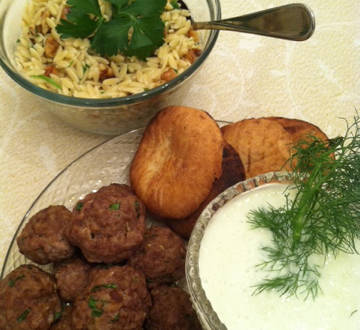 Greek Meatballs with Tzatziki and Orzo with Feta and Walnuts
