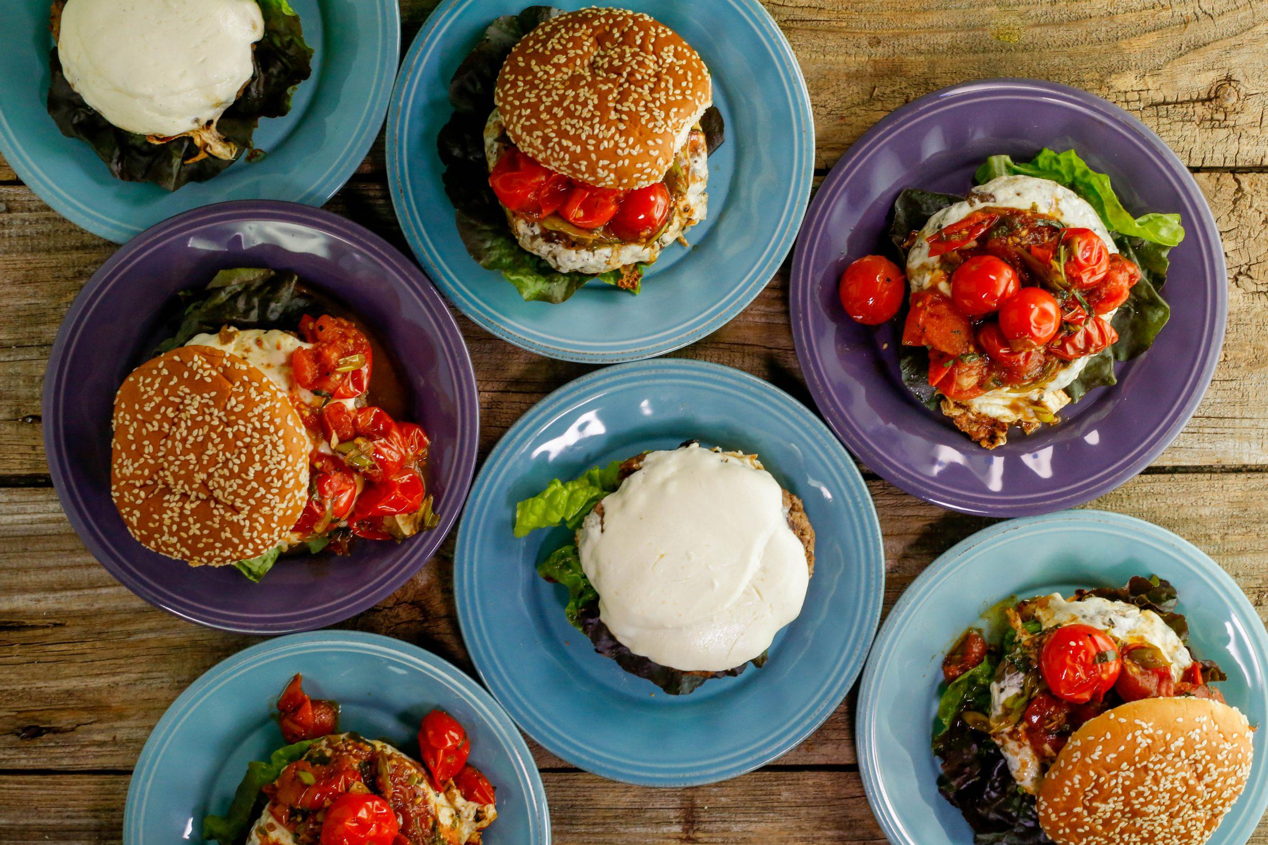 Green Onion Burgers with Burst Tomato-Tarragon Sauce