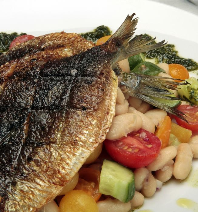 Grilled sardines with white bean salad and pesto