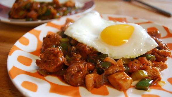 Gumbo-Style Chunky Hash with Fried Eggs