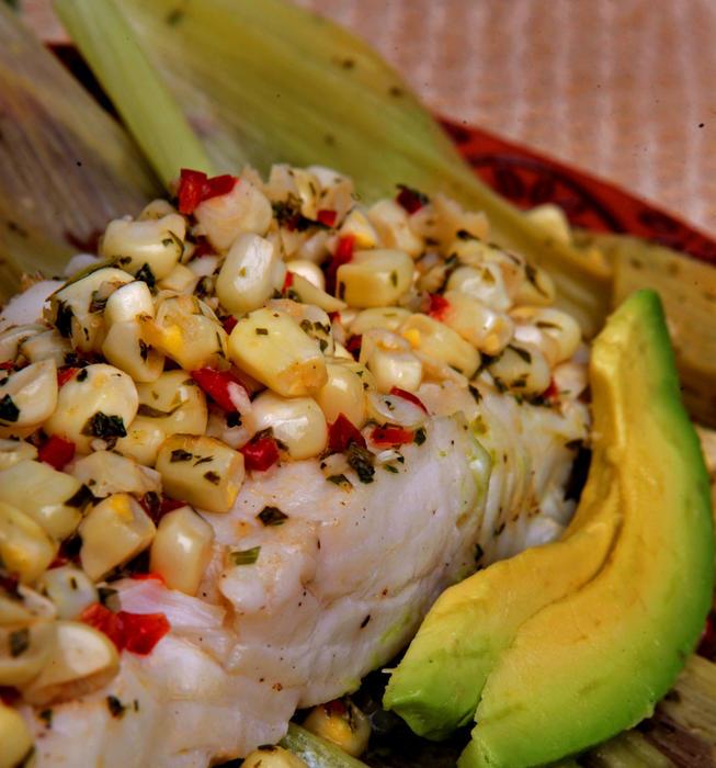 Halibut steamed in corn husks