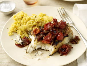 Halibut with Barbecue Tomato Sauce and Honey-Mustard Polenta