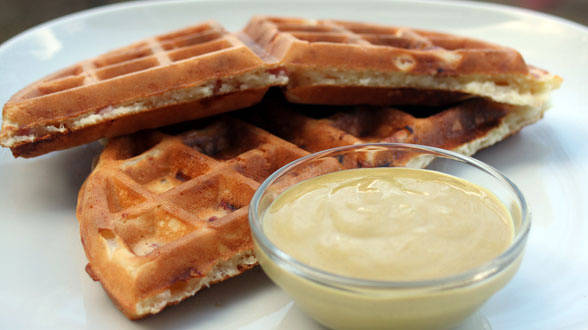 Ham and Cheese Waffles with Honey Mustard Dipping Sauce