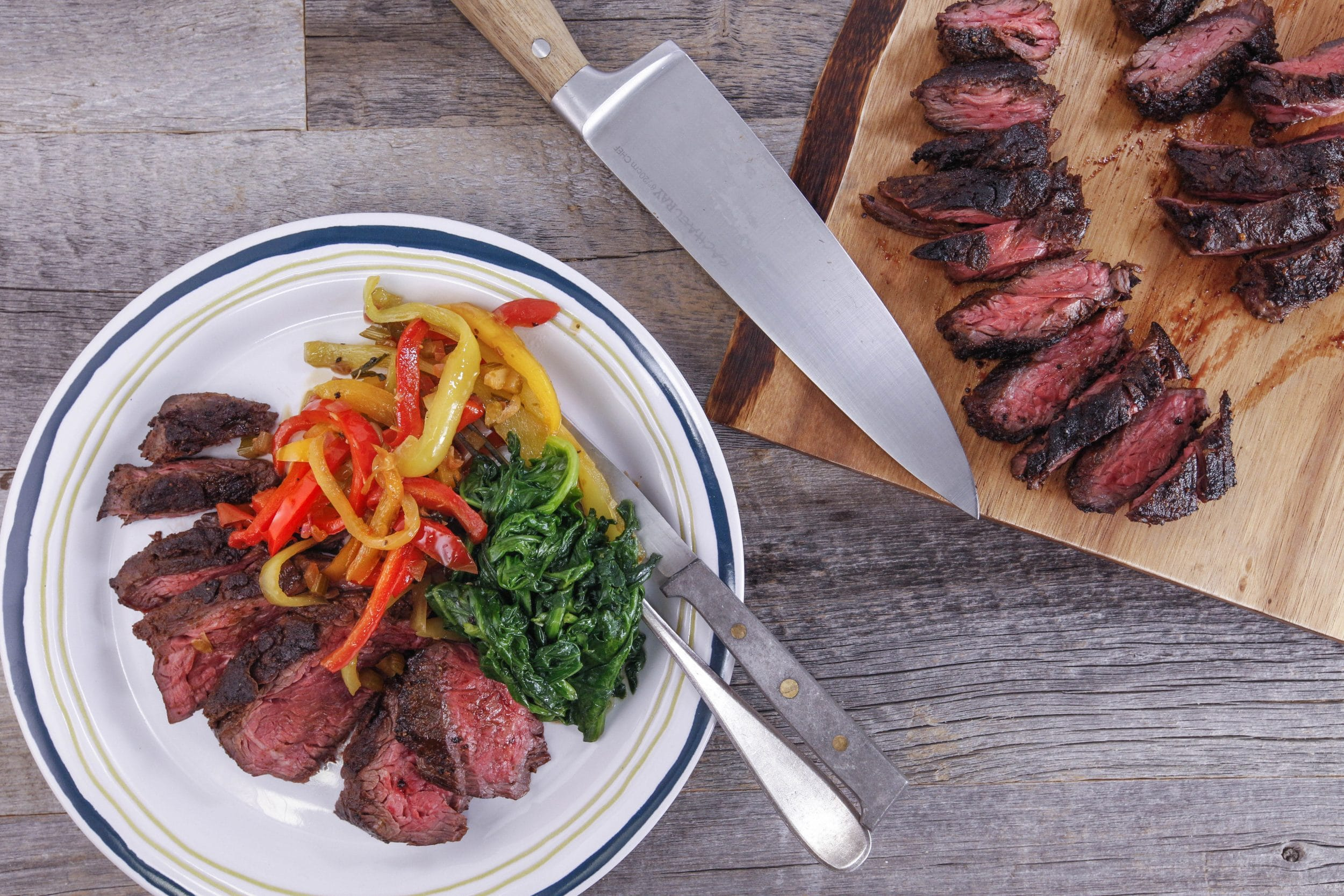 Hanger Steak with Pepperonata and Garlicky Spinach