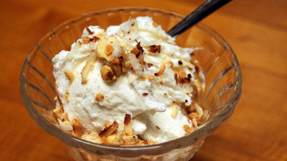 Ice Cream with Toasted Coconut Topping