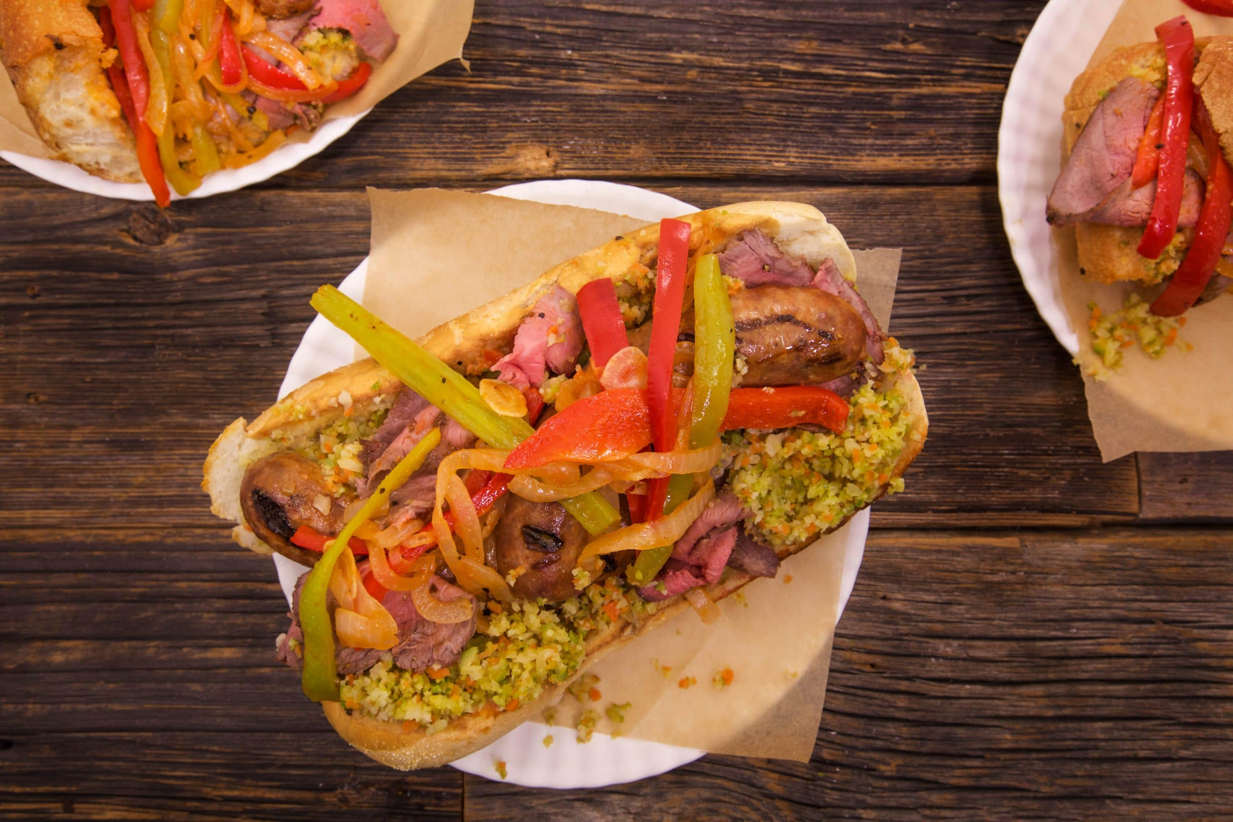 Italian Combo Hoagies with Roast Beef, Hot Sausage, Peppers and Onions