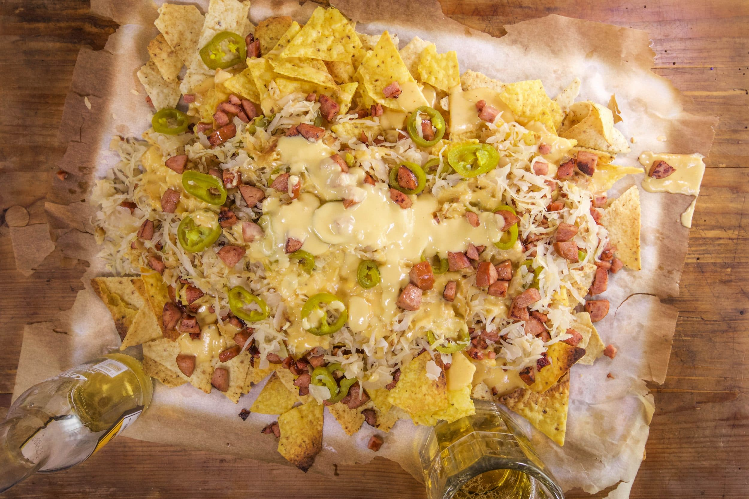 Kielbasa Nachos with Beer Cheese and 'Kraut